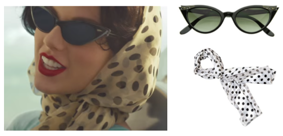 Wildest Dreams cateye sunglasses polka dot scarf