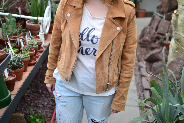 Blank NYC Tan Suede Moto Jacket